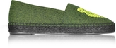 Kenzo Fluo Green Canvas Mix Tiger Espadrilles