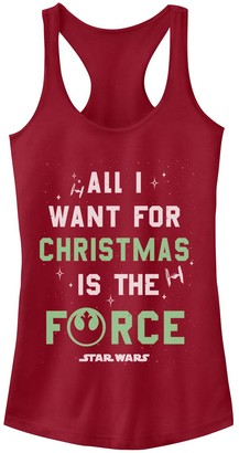 """Star Wars Juniors' All I Want For Christmas Is The Force"""" Tank"""