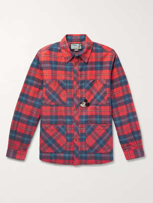 Gucci + Disney Appliqued Padded Checked Cotton-Flannel Overshirt