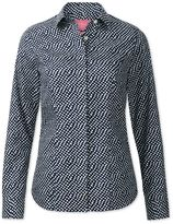 Charles Tyrwhitt Women's Semi-Fitted Non-Iron Navy and White Random Spot Cotton Casual Shirt Size 10