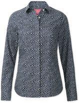 Charles Tyrwhitt Women's Semi-Fitted Non-Iron Navy and White Random Spot Cotton Casual Shirt Size 2