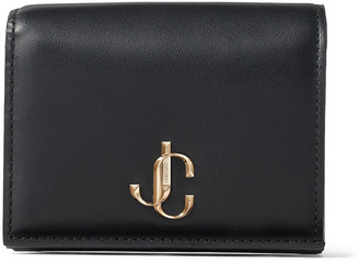 Jimmy Choo HANNE Black Smooth Calf Leather Wallet with JC Emblem