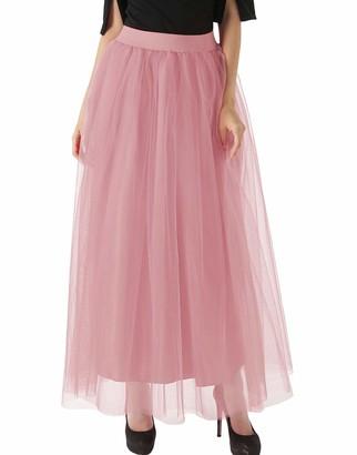 FEOYA Tulle Skirt Full Length Ladies Tutu Skirt Black Maxi Petticoat Long 4 Layered Underskirt for Wedding Dresses Retro 50s Halloween Party Prom Skirt