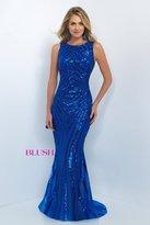 Blush Lingerie Sequined Jewel Neck Trumpet Dress 11118