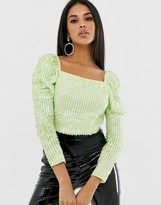 Asos Design DESIGN sequin embellished square neck top with puff sleeve