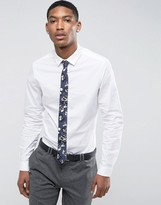 Asos Slim Shirt In White With Navy Floral Tie Save