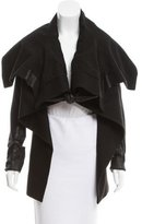 Rick Owens Leather-Accented Draped Jacket