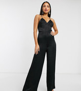 Asos DESIGN Tall cami strap satin jumpsuit with plunge front