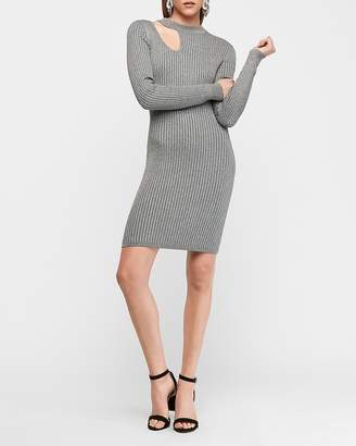 Express Metallic Ribbed Long Sleeve Cut-Out Neck Bodycon Sweater Dress