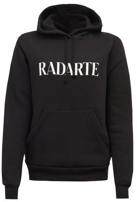 Rodarte print Fleeceback-jersey Hooded Sweatshirt - Womens - Black White
