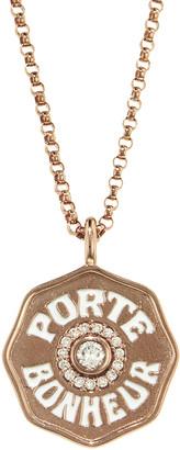 Marlo Laz Mini Diamond and White Enamel Porte Bonheur Coin Necklace - Rose Gold