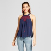 Xhilaration Women's Embroidered High-Neck Top Juniors') Navy