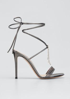 Gianvito Rossi Metallic Ankle-Wrap Stiletto Sandals