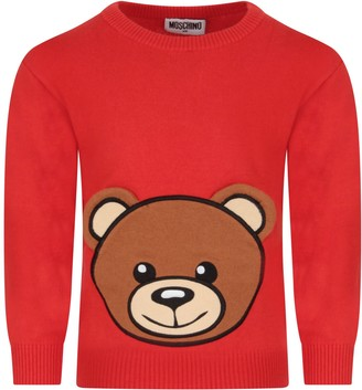 Moschino Red Sweater For Kid With Teddy Bear