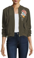 Johnny Was Alice Silk Crepe Embroidered Bomber Jacket