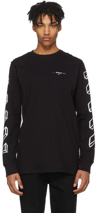 Off-White Black and White Long Sleeve Diagonal Marker Arrows T-Shirt