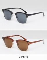 Asos 2 Pack Classic Retro Sunglasses