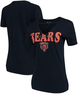 New Era Women's Navy Chicago Bears Baby Jersey V-Neck Choker T-Shirt