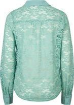 Full Tilt Lace Tie Front Womens Shirt
