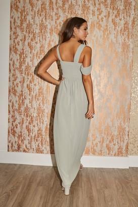 Little Mistress Bridesmaid Sasha Waterlily Asymmetric Cut-Out Detail Maxi Dress