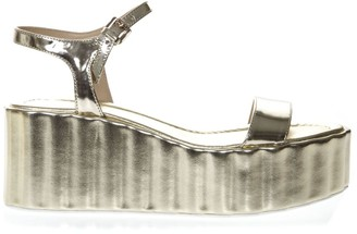 Strategia 70mm Wedged Gold Leather Sandal