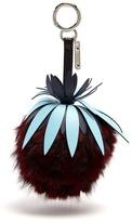 Fendi Pineapple pompom fur key fob