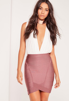 Missguided Premium Bandage Asymmetric Mini Skirt Purple