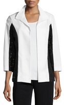 Misook Lace-Detail Wing Collar Jacket, Petite