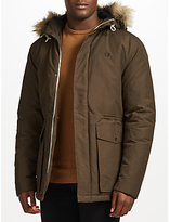 Fred Perry Quilted Faux Fur Trim Parka, Dark Grey