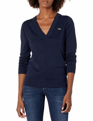 Lacoste Women's Sport V-Neck Cotton Technical Golf Sweater
