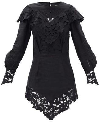 Isabel Marant Ellery Broderie-anglaise Linen Mini Dress - Black