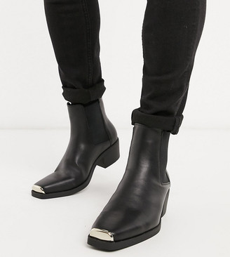 Asos DESIGN Wide Fit stacked heel western chelsea boots in black faux leather with metal hardware