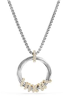 David Yurman Helena Pendant Necklace with Diamonds and 18K Gold