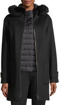 Cinzia Rocca Fur-Trim Wool Coat w/Quilted Puffer Layer