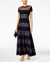 R & M Richards Illusion Sequined Lace A-Line Gown