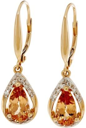 Pear Shaped Imperial Topaz & Diamond Drop Earrings 14K, 1.95 cttw