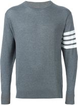 Thom Browne Crewneck Pullover With 4-Bar Stripe In Medium Grey Merino