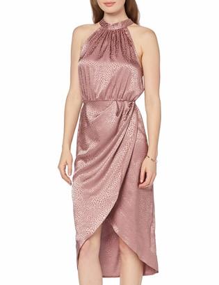 New Look Women's Halter Satin Hi Neck Dress
