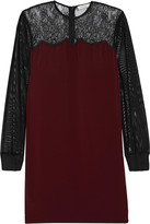 Sandro Roots lace-paneled crepe and tulle mini dress