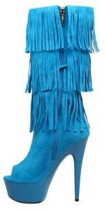 "The Highest Heel Halloween Women's 6"" Micro Suede Western Fringe Boot"