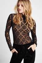 BCBGeneration Sheer Smocked-Neck Bodysuit - Black