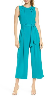 Charles Henry Pleated Neck Sleeveless Culotte Jumpsuit