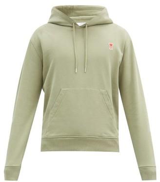 Ami De Coeur-applique Cotton Hooded Sweatshirt - Green
