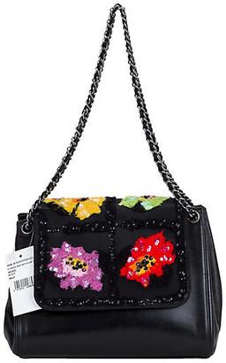 One Kings Lane Vintage Chanel Black Embroidered Evening Bag - Vintage Lux