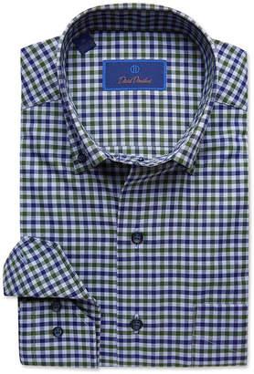 David Donahue Men's Check Button-Collar Dress Shirt