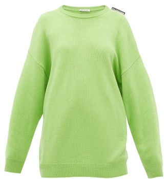 Balenciaga Logo-tab Cashmere Sweater - Womens - Green