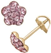 Swarovski 14k Gold Light Rose Crystal Flower Stud Earrings - Made with Crystals - Kids