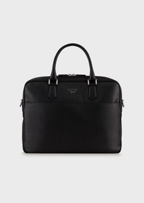 Emporio Armani Printed, Boarded Leather Briefcase With Shoulder Strap