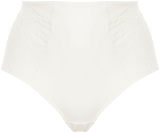 Maison Lejaby Paneled Satin-jersey And Lace High-rise Briefs