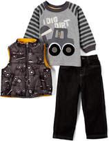 Children's Apparel Network Dark Gray & Black 'I Dig Dirt' Tee Set - Infant